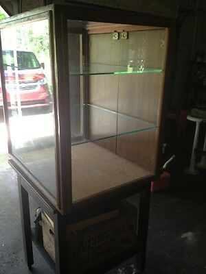 antique  Wood Glass Counter Top General Store Display Case Showcase With Key