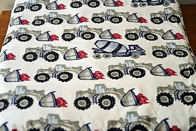 Pottery Barn Kids Twin Flannel Duvet Cover Construction Cement Dump Truck