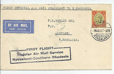 1934 Nyasaland to S Rhodesia 1st flight cover