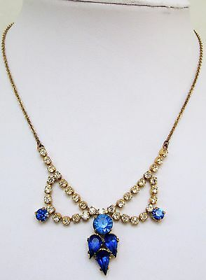 Beautiful vintage Deco gold metal, sapphire & diamond paste necklace