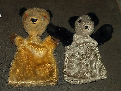 Vintage Sooty Puppet & Soo Puppet Chad Valley Straw Filed Heads 1950s