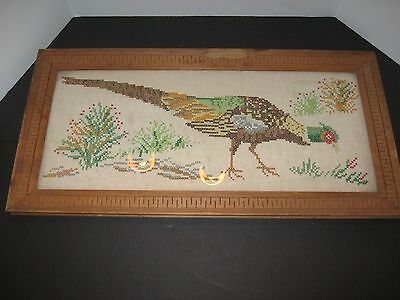 Antique Vtg Completed Needlepoint Pheasant Turkey Hunting Lodge Framed Picture