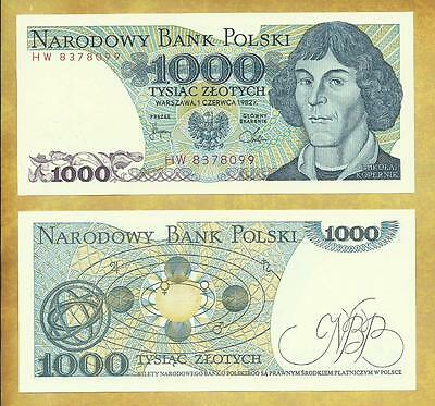 Poland Copernicus 1000 Zlotych 1982 P-146c Unc Currency Note ***USA SELLER***