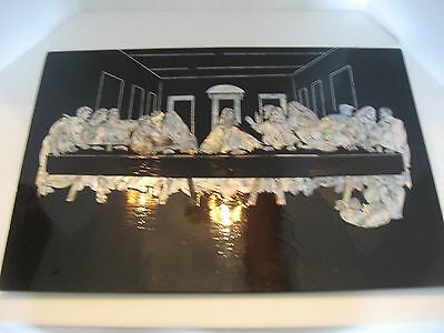 VTG Jesus The Last Supper Inlaid Mother of Pearl Black Lacquered Painting Pictur