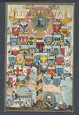 New Italy Fascist Patriotic artist signed PPC with Coats of Arms Mussolini King