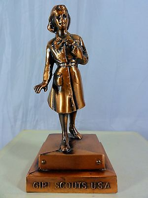 "Vintage Girl Scouts 6 1/4"" Copper Statue  -  Marjorie Dangerfield 1953"