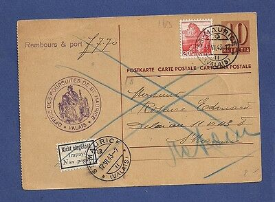 Switzerland Schweiz  1943 Uprated st postcard cover Cash on Delivery Not paid.