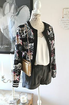 Classic Tricot Black Floral Bomber Jacket Size S/M