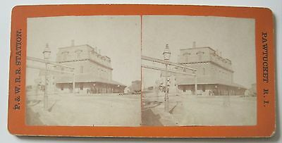 RHODE ISLAND P & W R.R. Railroad Station PAWTUCKET Stereoview RI