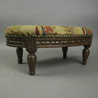 Antique Louis XVI Style Walnut and Tapestry Footstool