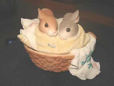 My Blushing Bunnies Enesco Bundle Of Joy Trinket Box 1997 Priscilla Hillman
