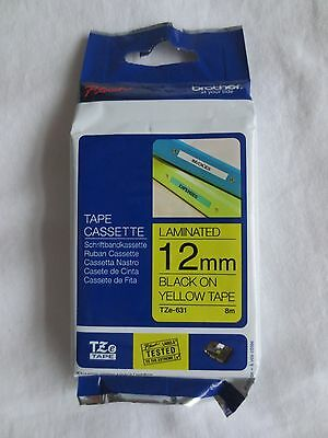 Brother Tape Cassette TZe-631  (12mm Black on Yellow Tape)