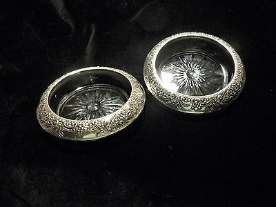 Antique Sterling Silver Frank M Whiting & Co Floral Cut Glass Coasters (2)