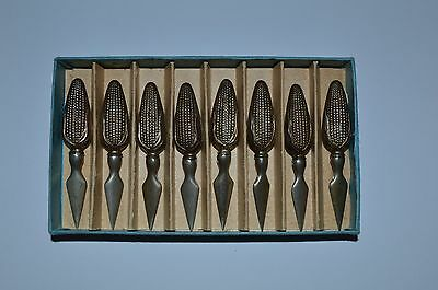 Set of 8 Vintage STERLING SILVER Corn on Cob Holders spikes FREE SHIPPING