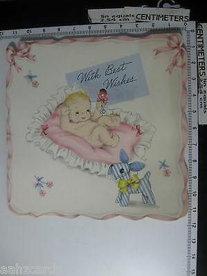 With Best Wishes - Vintage 1938 New Baby Greeting Card