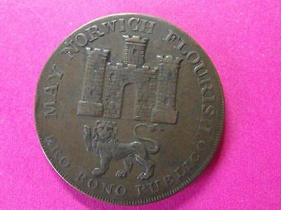 1792 Norfolk and Norwich Half penny Token May Norwich Flourish Pro Bono Publico