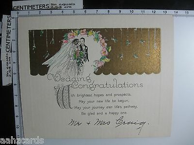 Wedding Congratulations - Vintage 1927 Wedding Card