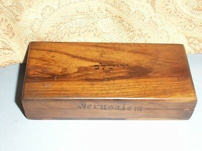 Old Vintage Antique Wooden Jerusalem Postage Stamp Box Olivewood Victorian Fine