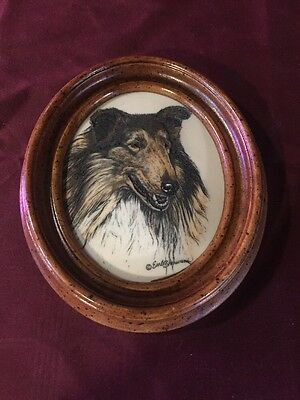 Vintage Earl Sherwan Collie Lassie Dog Marvetti cultured Ivory plaque wood frame