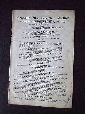 Newcastle Horse racing race card December 3rd 1983