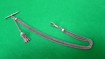"""Antique Solid Silver 3 Chain Albertina 12"""" Inches Long"""
