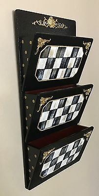 My Own Hand Painted Courtly Wood Letter / Mail Holder Black & White Check
