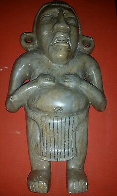 "Antique Pre - Columbian Large Hand Carved Marble/Stone 14"" Warrior"
