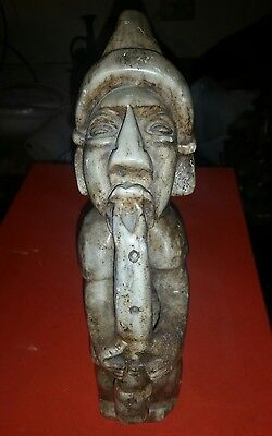 Antique Pre - Columbian Stone Tribal Warrior Playing Wind Instrument