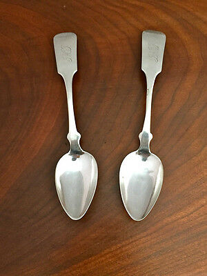 Pair of HA Coe 19th-Century American Coin Silver Teaspoons c1845