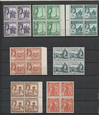 Malta 1956 Issue 7 Values In Blocks Of 4 Mnh Cat £100+