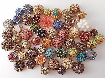 HUGE Vtg Colored Rhinestone Button Bead Lot 53 Pieces Tiered Craft Sparkly