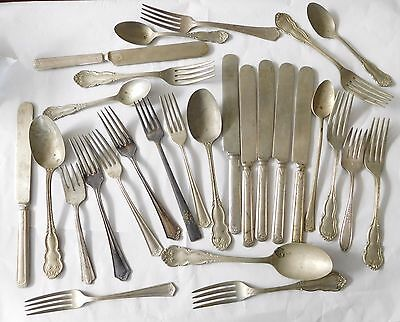 Lot Of Vintage Silverplate Flatware Knives Forks Spoons #101A