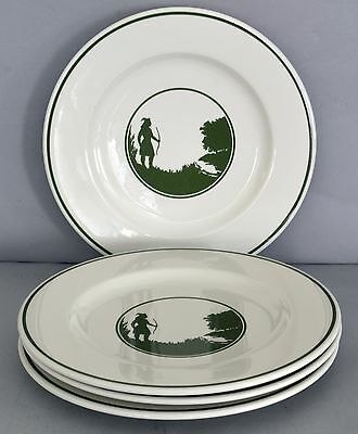 """Set of 4 Syracuse China Indian Silhouette 12"""" Dinner Plates, Western, Clean"""