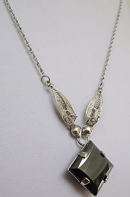 Good quality vintage sterling silver filigree & haematite pendant necklace