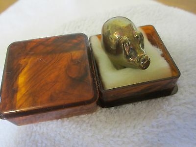 Lovely Vintage Solid Brass  Miniature Pig Figurine/ Lucky Mascot/ Paperweight