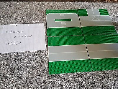 LEGO GREEN & GREY ROAD JUNCTION 32 x 32 BASE PLATES / BASE BOARDS x 4