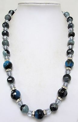 Beautiful long vintage blue agate, diamond paste & crystal bead necklace