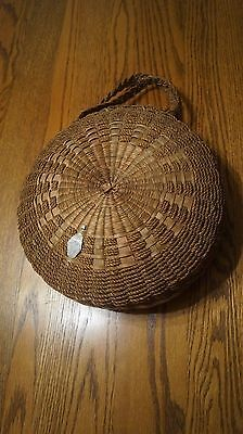 Vintage PENOBSCOT Sewing Basket with lid and braided handles- Circa 1900's - VGC