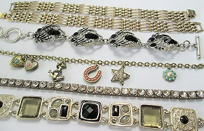 Six good quality vintage bracelets (Deco diamond paste line, gold metal etc)