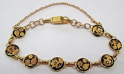 Good quality vintage gold metal Damascene flower design bracelet