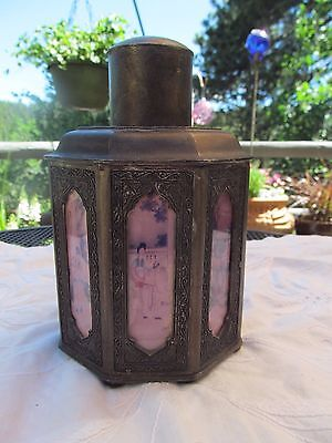 Antique Vintage Japanese Tea Caddy Metal With Glass Panels Scenes Wonderful