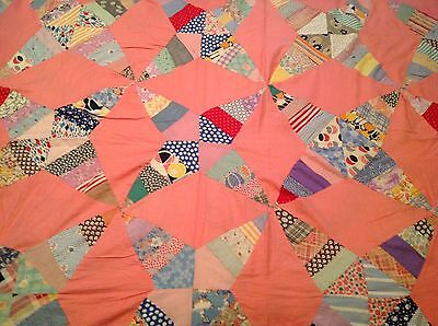 Vintage 4 Point Star Pattern Vintage Fabrics Pink Quilt Top 75 X76