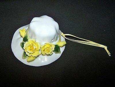 Vintage Bone China Wall Ornament or Pomader/Freshener,  Summer Hat/Yellow Roses
