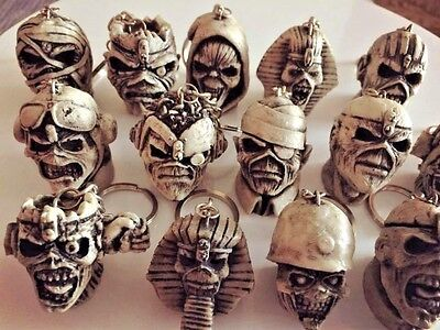 Collection of Iron Maiden Eddie 14 KeyChains Aces High Mummy Trooper Madness