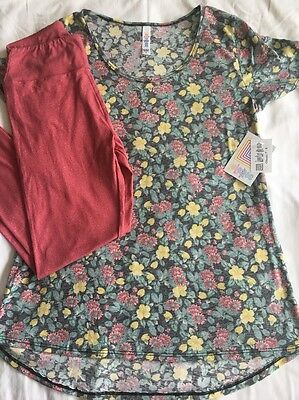 LuLaRoe Outfit!! Floral Classic T Size S and Heathered Red OS Leggings