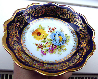 Small Limoges Porcelain Floral Dish with Cobalt Band & Ornate Gold Border [C]