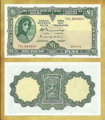 Ireland 1 Pound 1976 AU P-64d Lady Lavery Currency Banknote ***USA SELLER**