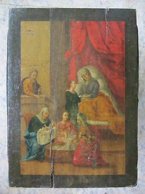 NATIVITY OF VIRGIN MARY - ANTIQUE OLD RUSSIAN HAND PAINTED ICON 390mm x 280mm