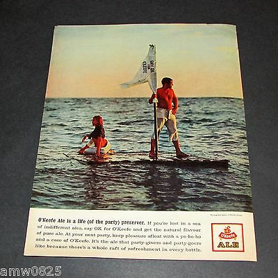 OK for O'KEEFE ALE VINTAGE PRINT AD 1961 CANADIAN BEER BREWERY CANADA RAFT PARTY