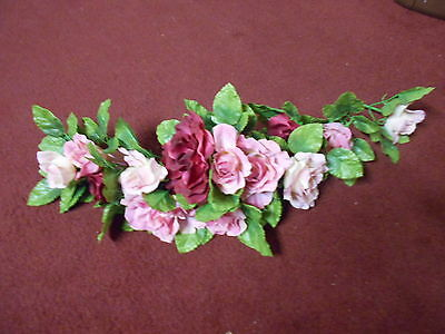 """25"""" Pink and Cranberry Roses Swag Vintage Home Interiors"""